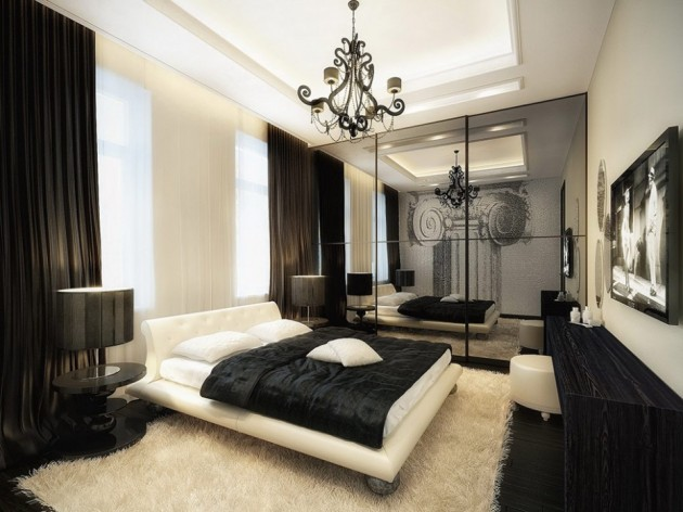 luxurious-black-and-white-bedroom-black-floors-931x698